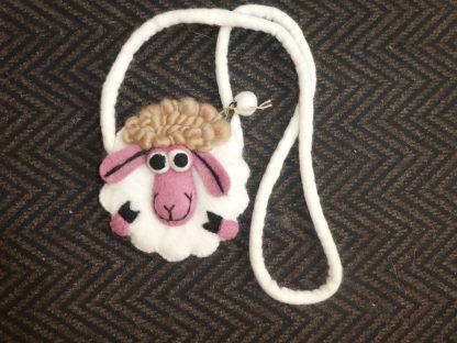 Felt sheep bag with zip fasrening