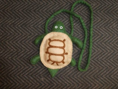 Felt turtle bag with zip fastening