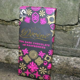 Divine Fair Trade dark chocolate with raspberries